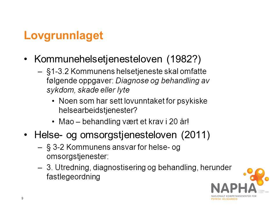 Lovgrunnlaget Kommunehelsetjenesteloven (1982 )