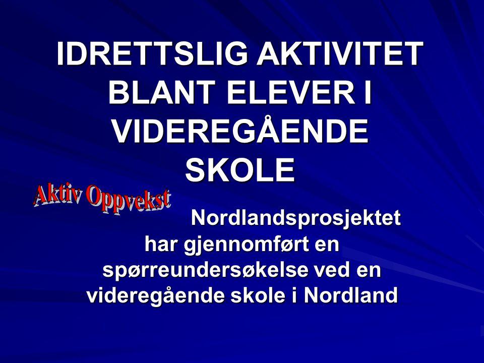 IDRETTSLIG AKTIVITET BLANT ELEVER I VIDEREGÅENDE SKOLE