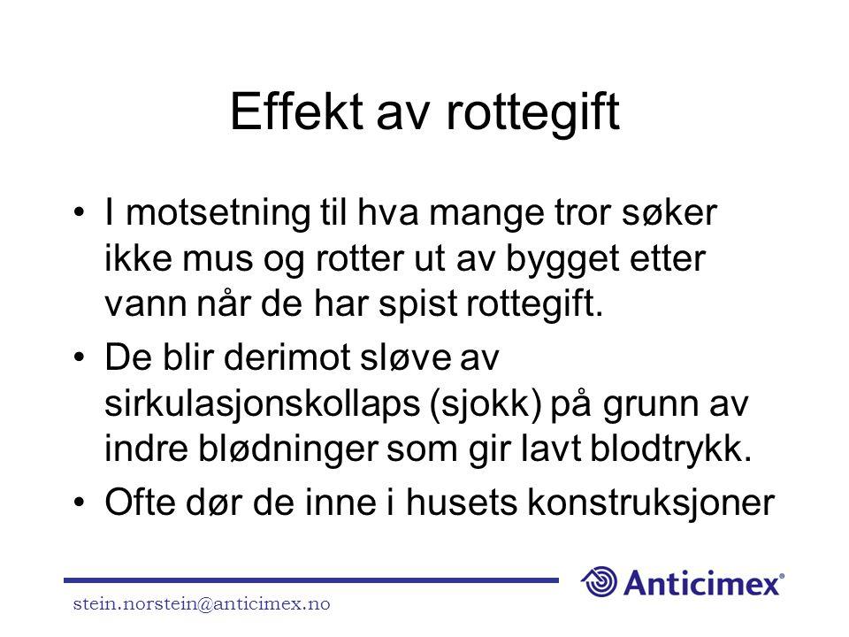Effekt av rottegift I motsetning til hva mange tror søker ikke mus og rotter ut av bygget etter vann når de har spist rottegift.