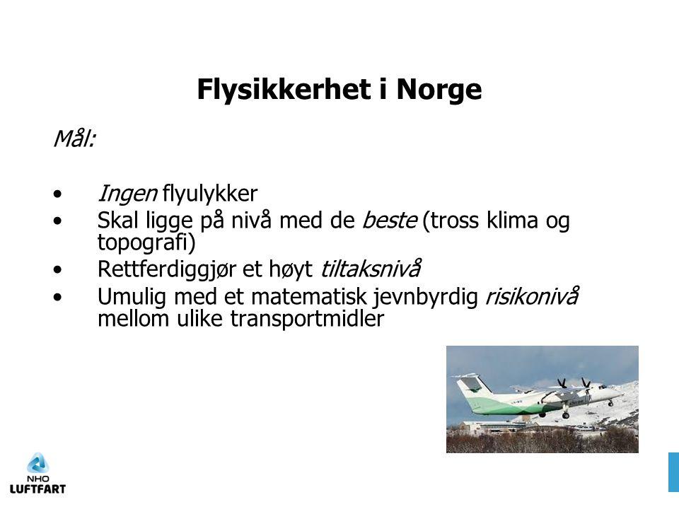 Flysikkerhet i Norge Mål: Ingen flyulykker