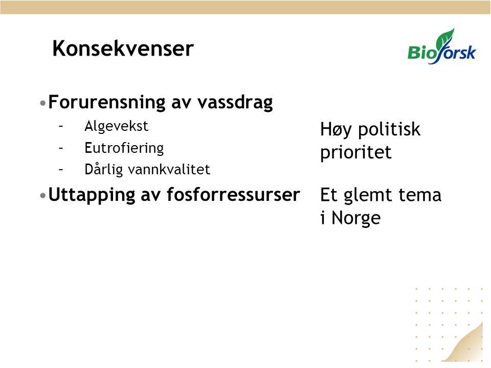 Konsekvenser Forurensning av vassdrag Høy politisk prioritet