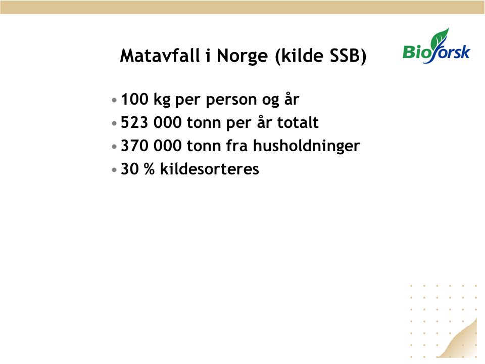 Matavfall i Norge (kilde SSB)