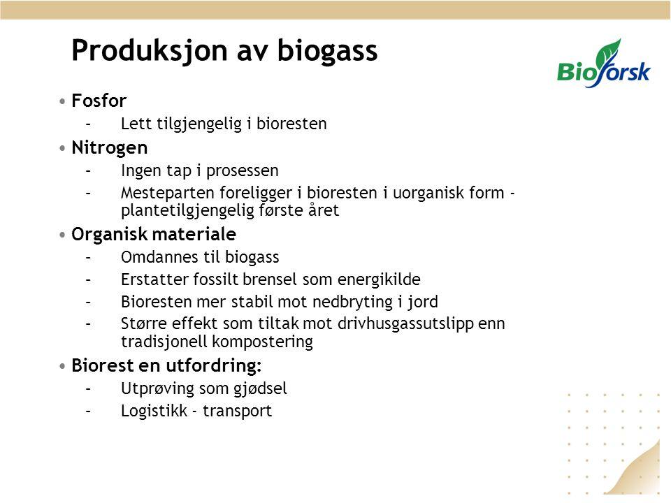 Produksjon av biogass Fosfor Nitrogen Organisk materiale