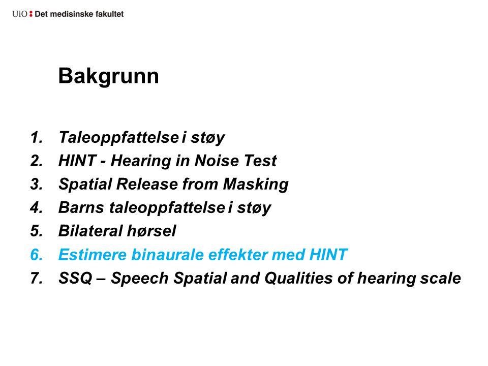 Bakgrunn Taleoppfattelse i støy HINT - Hearing in Noise Test