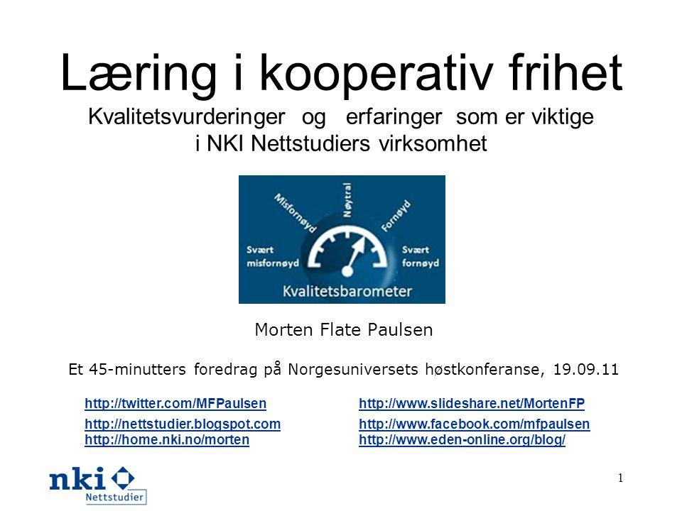 Et 45-minutters foredrag på Norgesuniversets høstkonferanse, 19.09.11