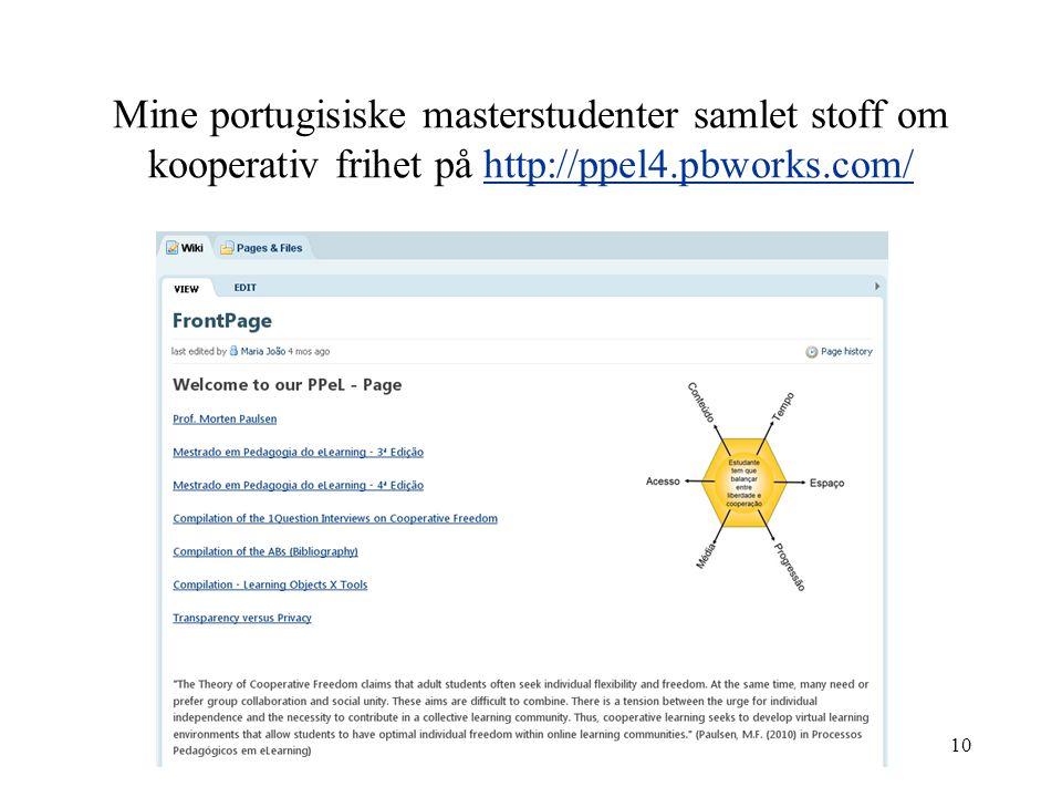 Mine portugisiske masterstudenter samlet stoff om kooperativ frihet på http://ppel4.pbworks.com/