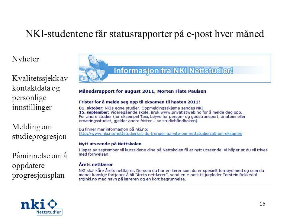 NKI-studentene får statusrapporter på e-post hver måned