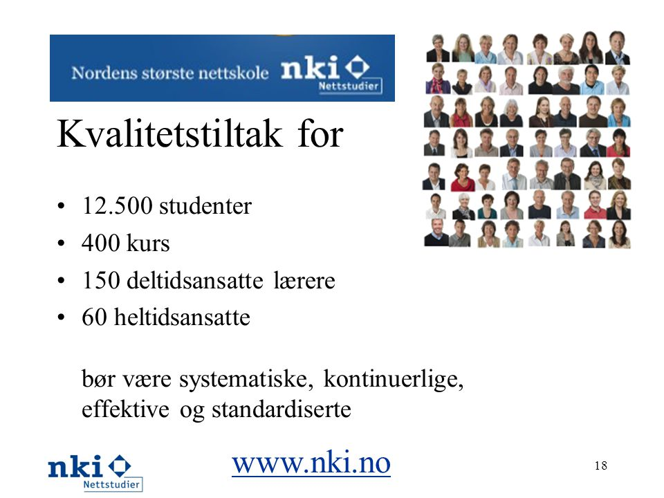 Kvalitetstiltak for www.nki.no 12.500 studenter 400 kurs