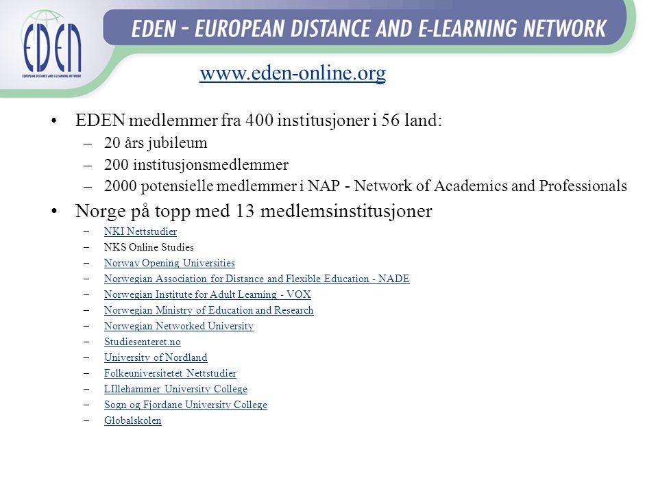 www.eden-online.org Norge på topp med 13 medlemsinstitusjoner