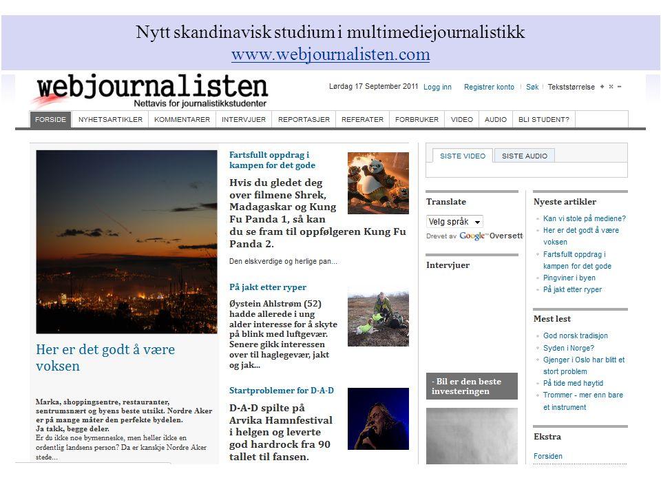 Nytt skandinavisk studium i multimediejournalistikk