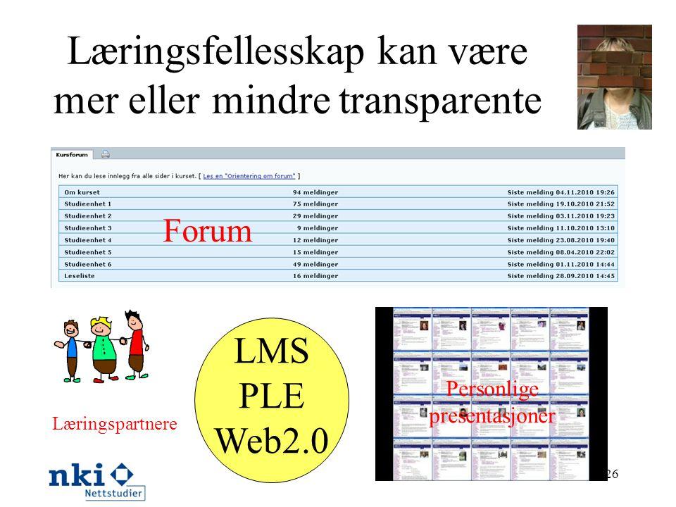 Læringsfellesskap kan være mer eller mindre transparente