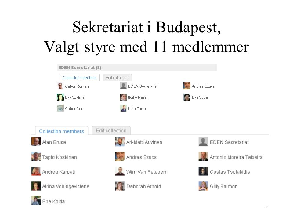 Sekretariat i Budapest, Valgt styre med 11 medlemmer