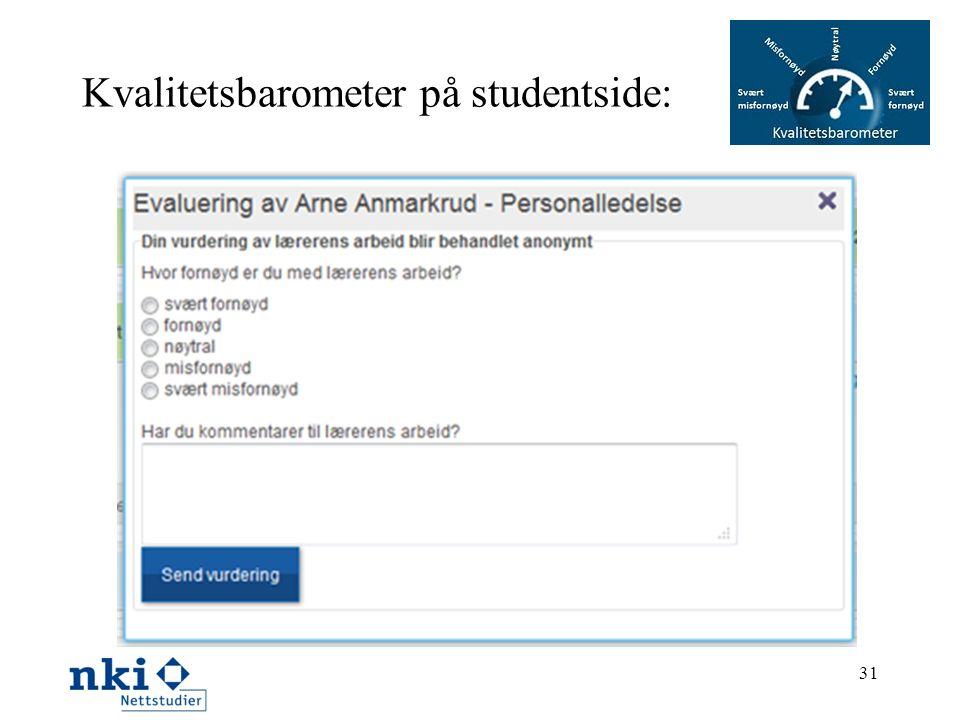 Kvalitetsbarometer på studentside:
