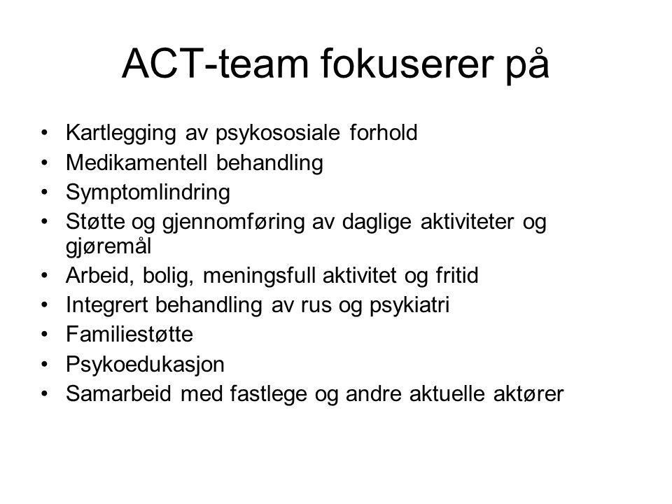 ACT-team fokuserer på Kartlegging av psykososiale forhold