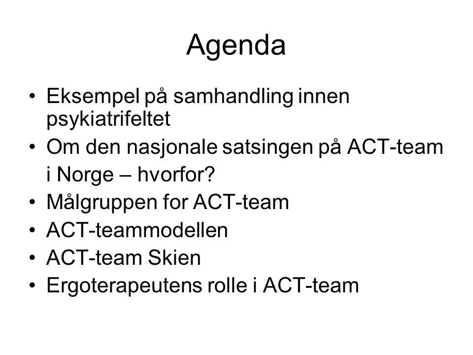 Agenda Eksempel på samhandling innen psykiatrifeltet