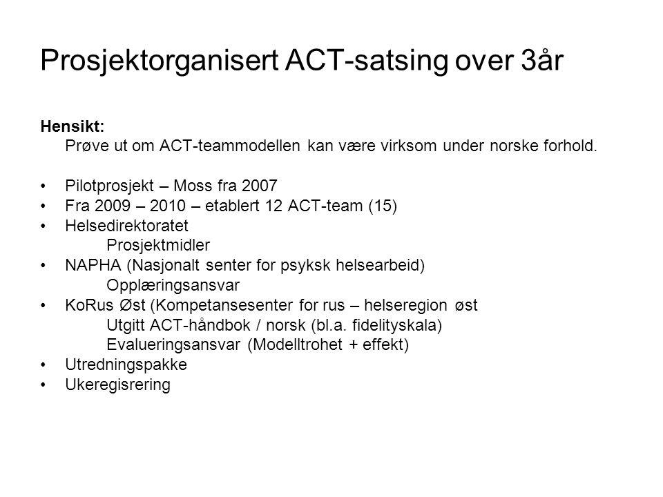Prosjektorganisert ACT-satsing over 3år
