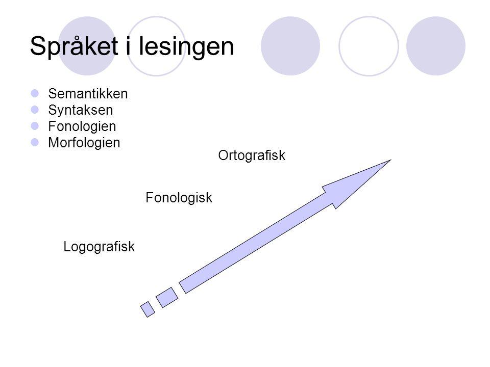Språket i lesingen Semantikken Syntaksen Fonologien