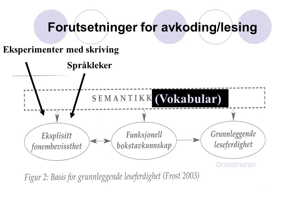 Forutsetninger for avkoding/lesing