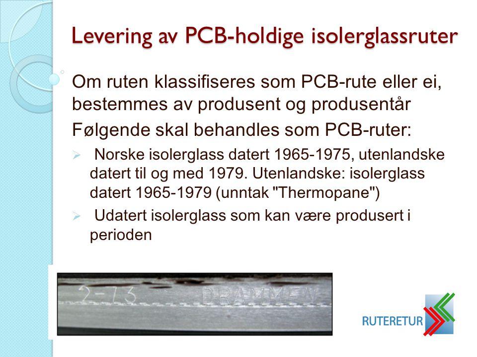 Levering av PCB-holdige isolerglassruter