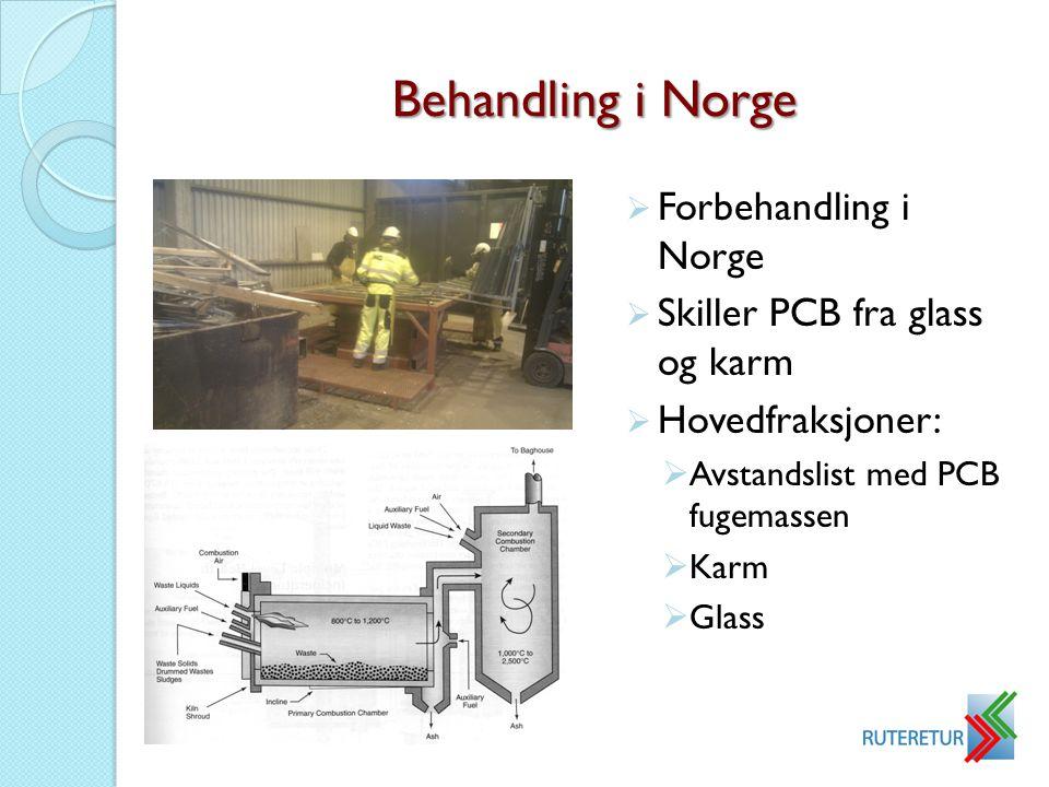 Behandling i Norge Forbehandling i Norge Skiller PCB fra glass og karm