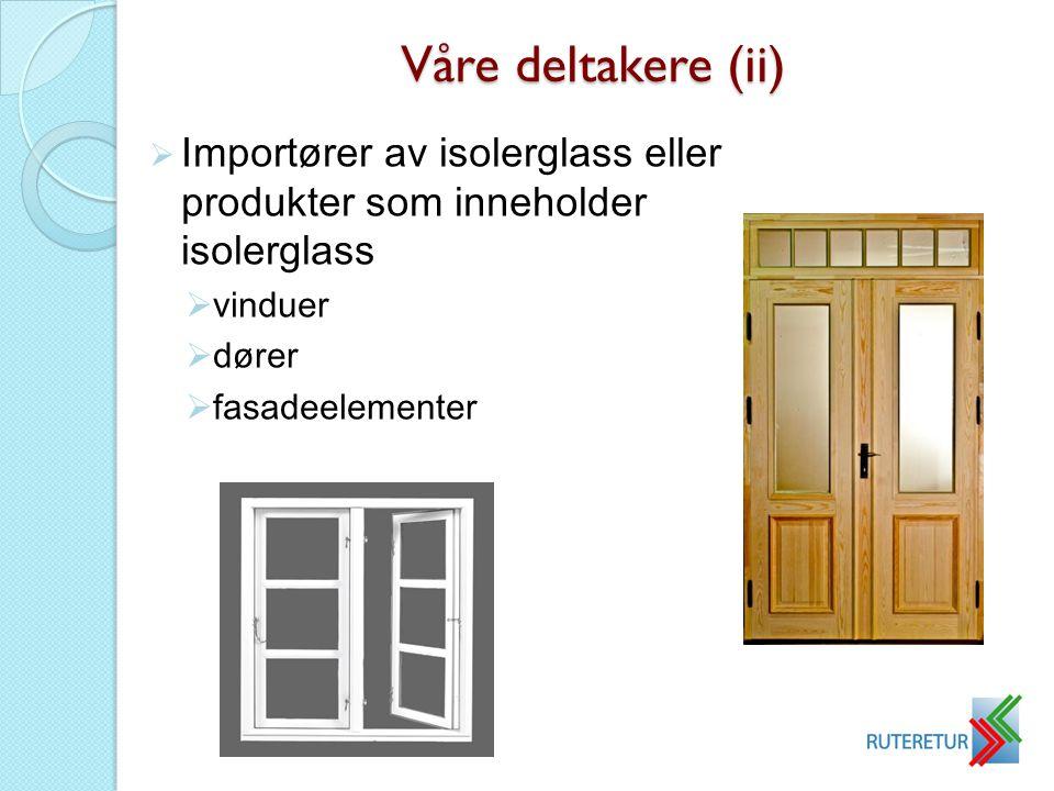 Våre deltakere (ii) Importører av isolerglass eller produkter som inneholder isolerglass. vinduer.