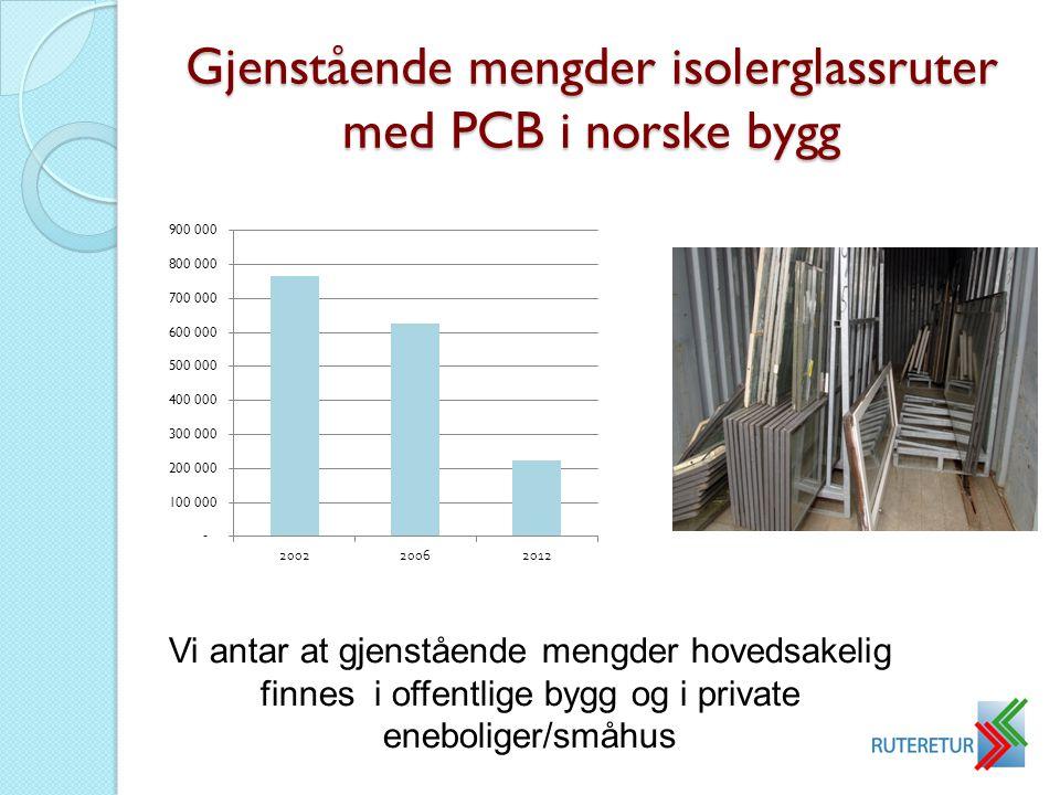 Gjenstående mengder isolerglassruter med PCB i norske bygg