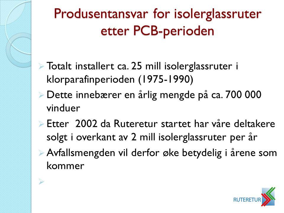 Produsentansvar for isolerglassruter etter PCB-perioden