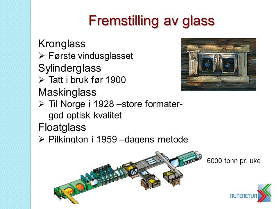 Fremstilling av glass Kronglass Sylinderglass Maskinglass Floatglass