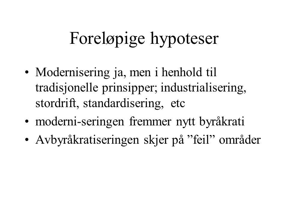 Foreløpige hypoteser Modernisering ja, men i henhold til tradisjonelle prinsipper; industrialisering, stordrift, standardisering, etc.