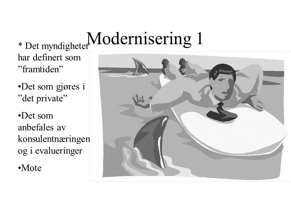 Modernisering 1 * Det myndigheter har definert som framtiden