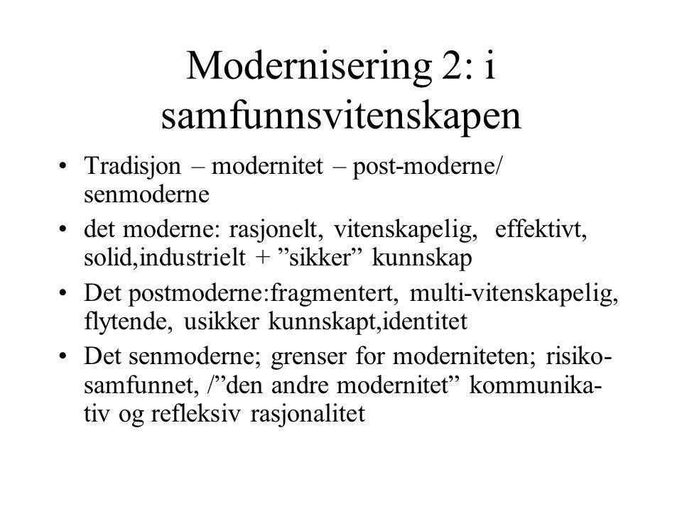 Modernisering 2: i samfunnsvitenskapen