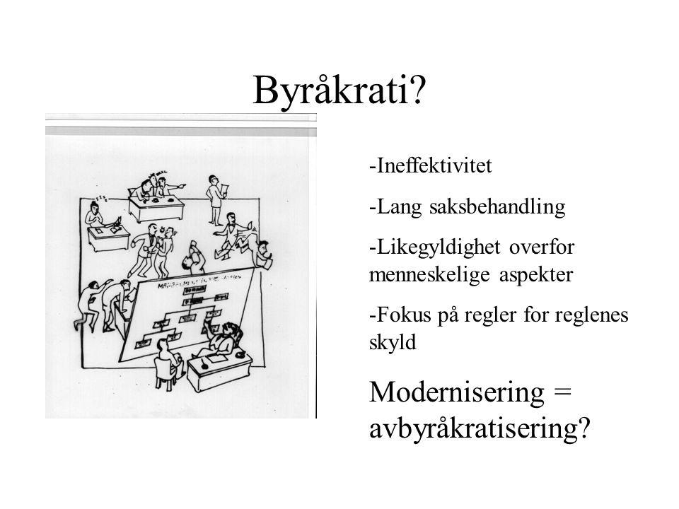 Byråkrati Modernisering = avbyråkratisering Ineffektivitet