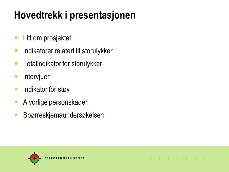 Hovedtrekk i presentasjonen