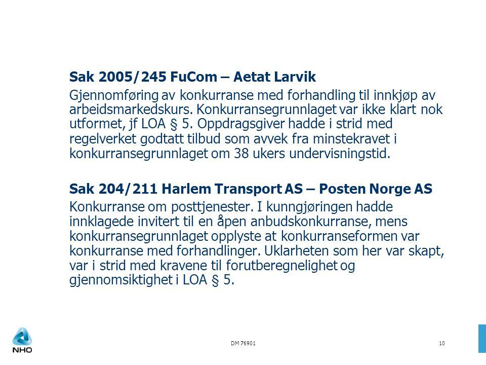 Sak 2005/245 FuCom – Aetat Larvik