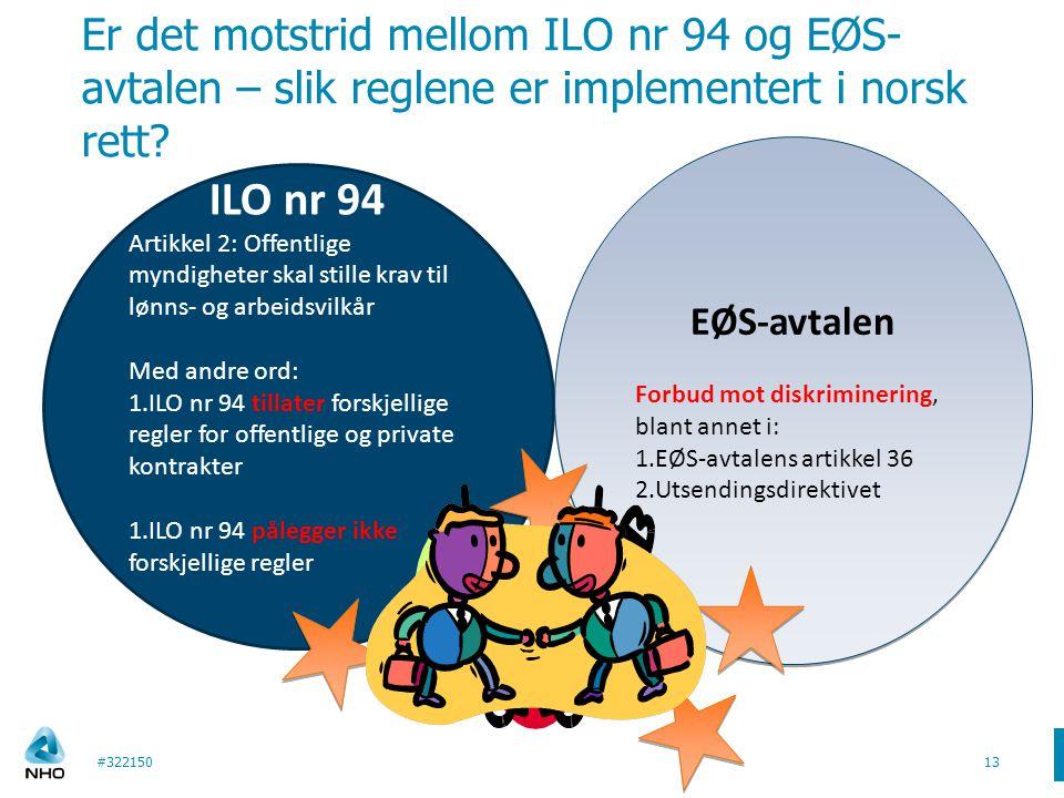 Er det motstrid mellom ILO nr 94 og EØS-avtalen – slik reglene er implementert i norsk rett