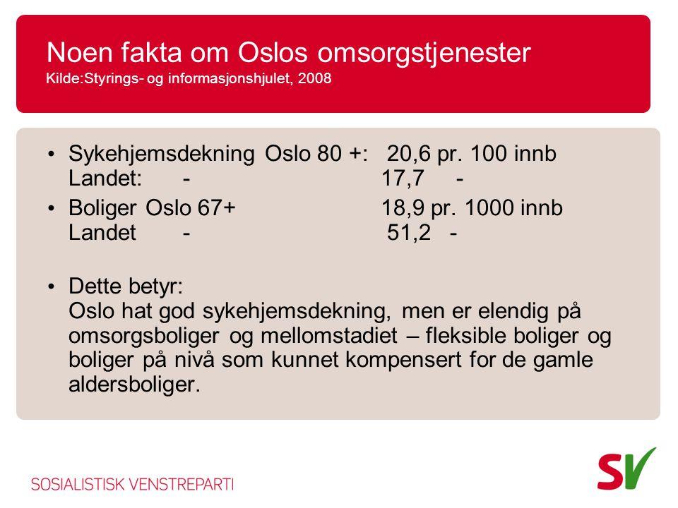 Noen fakta om Oslos omsorgstjenester Kilde:Styrings- og informasjonshjulet, 2008
