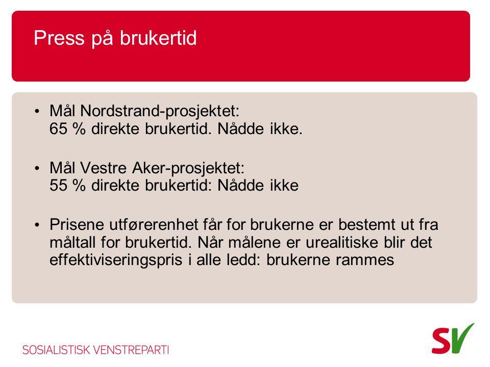 Press på brukertid Mål Nordstrand-prosjektet: 65 % direkte brukertid. Nådde ikke. Mål Vestre Aker-prosjektet: 55 % direkte brukertid: Nådde ikke.