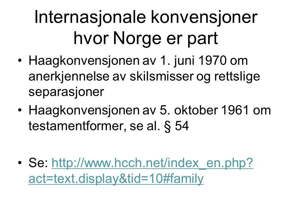 Internasjonale konvensjoner hvor Norge er part