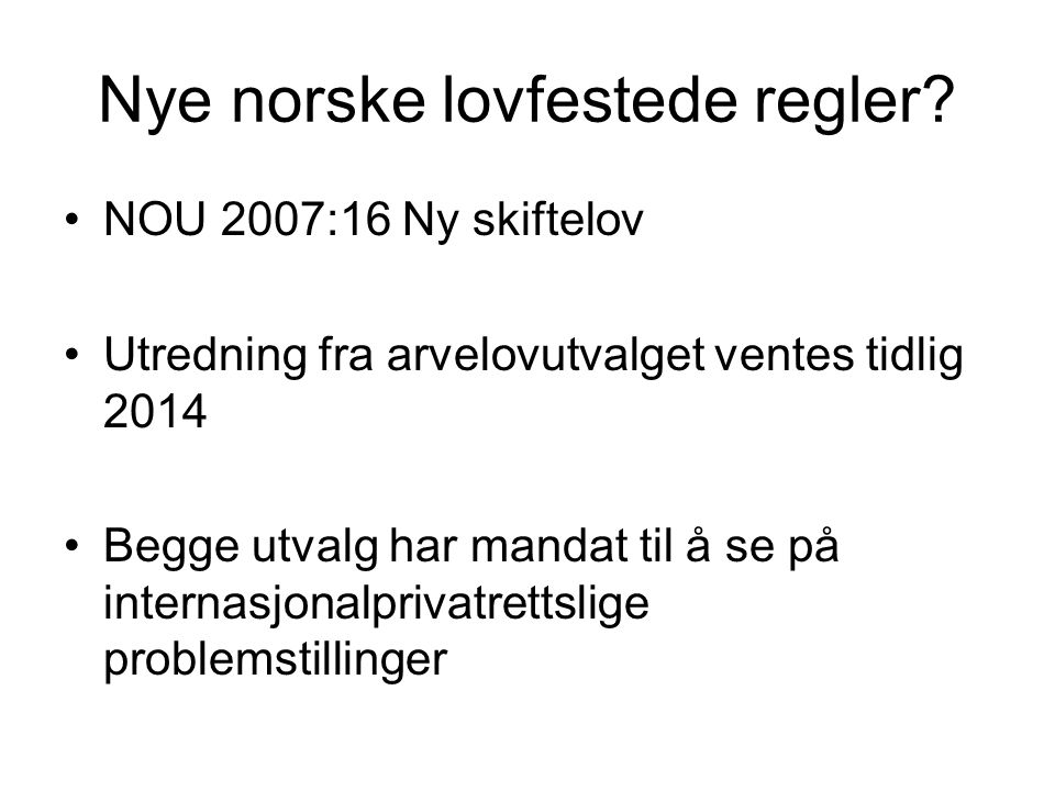 Nye norske lovfestede regler