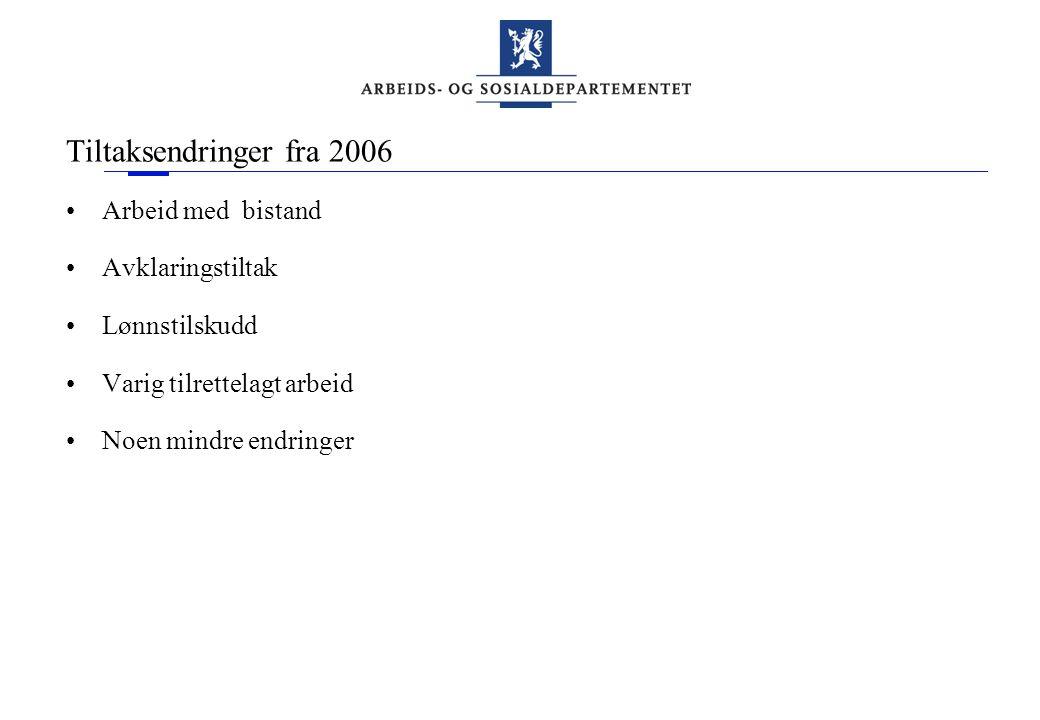 Tiltaksendringer fra 2006 Arbeid med bistand Avklaringstiltak