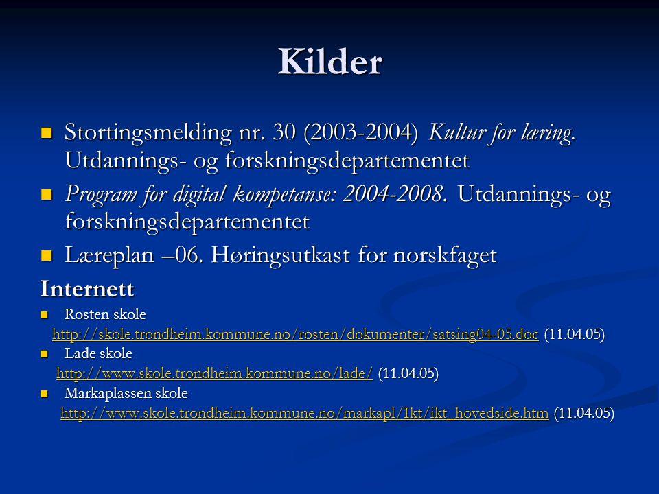 Kilder Stortingsmelding nr. 30 (2003-2004) Kultur for læring. Utdannings- og forskningsdepartementet.