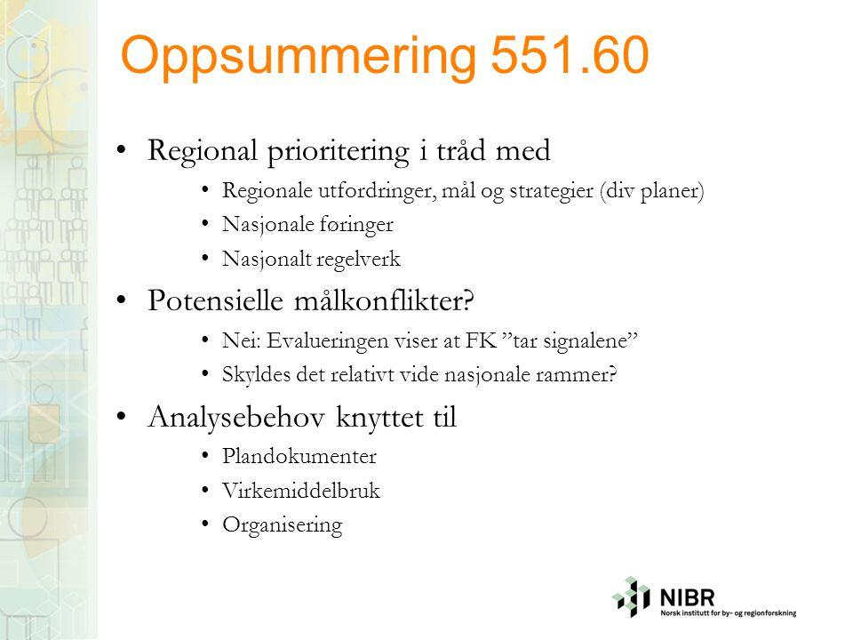 Oppsummering 551.60 Regional prioritering i tråd med