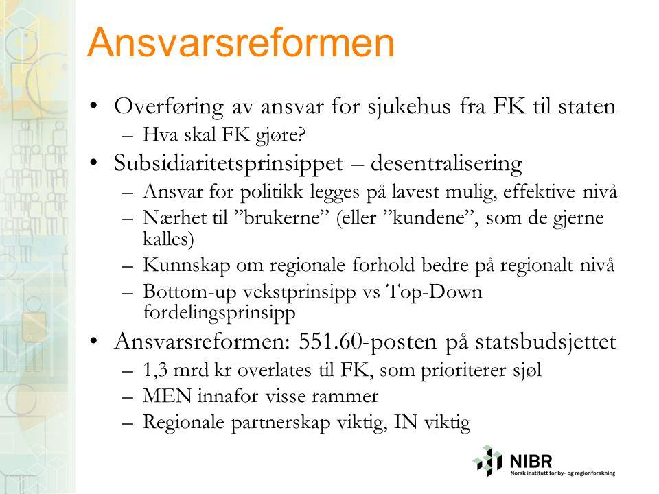 Ansvarsreformen Overføring av ansvar for sjukehus fra FK til staten