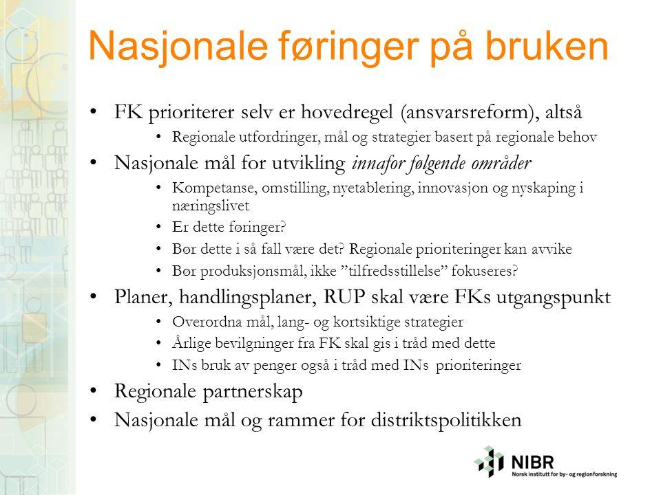 Nasjonale føringer på bruken