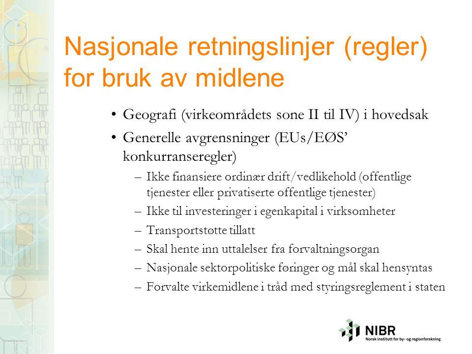Nasjonale retningslinjer (regler) for bruk av midlene
