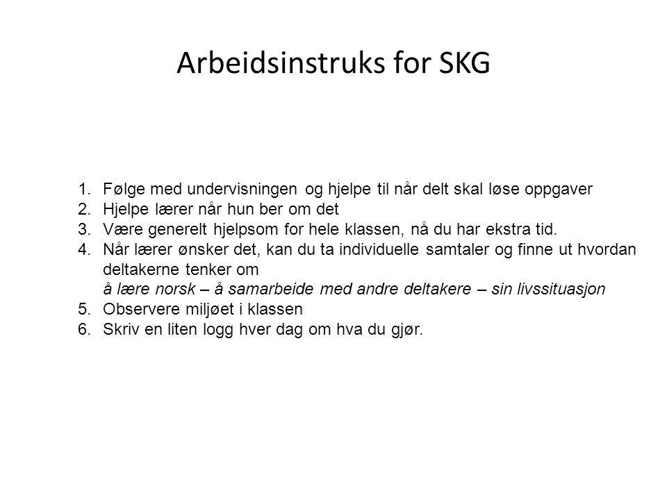 Arbeidsinstruks for SKG