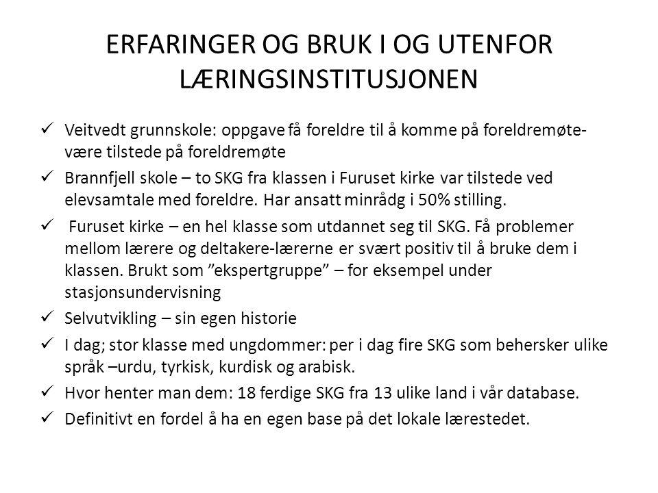 ERFARINGER OG BRUK I OG UTENFOR LÆRINGSINSTITUSJONEN