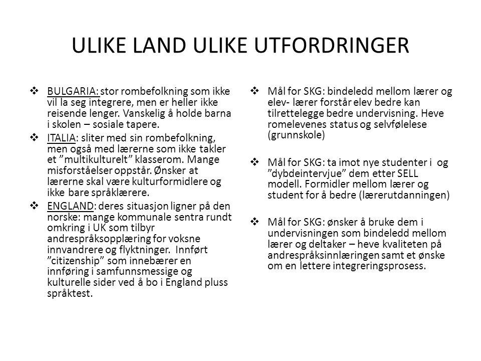 ULIKE LAND ULIKE UTFORDRINGER