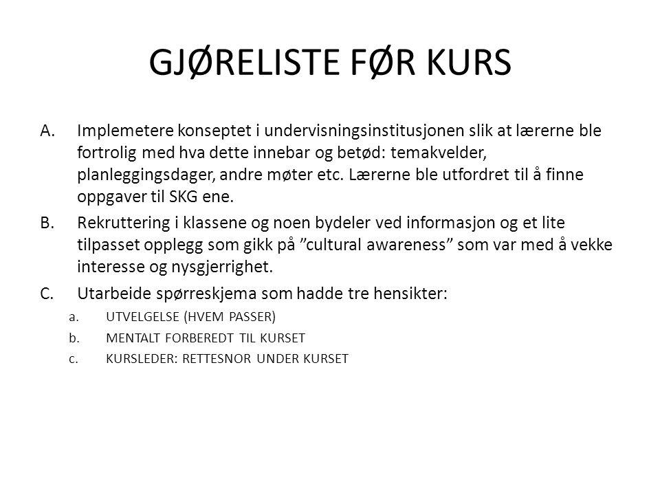 GJØRELISTE FØR KURS