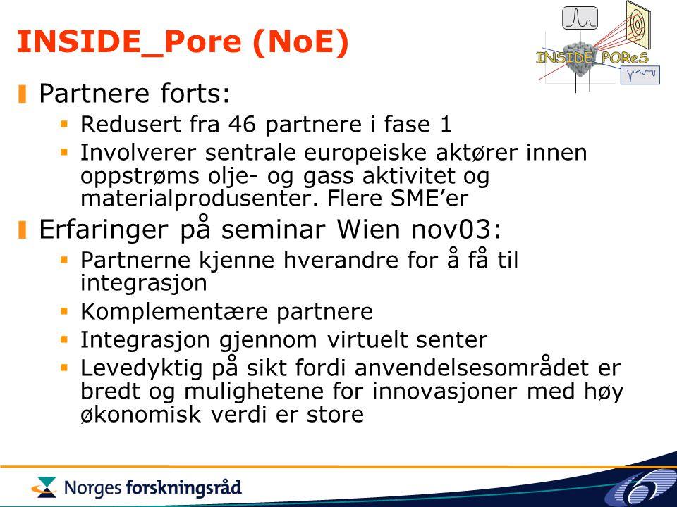 INSIDE_Pore (NoE) Partnere forts: Erfaringer på seminar Wien nov03: